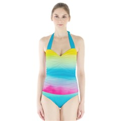 Watercolour Gradient Halter Swimsuit