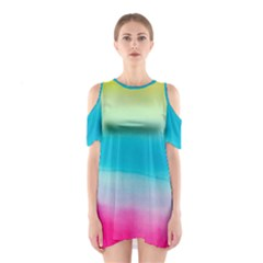 Watercolour Gradient Cutout Shoulder Dress