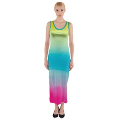 Watercolour Gradient Fitted Maxi Dress