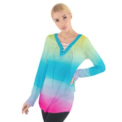 Watercolour Gradient Women s Tie Up Tee