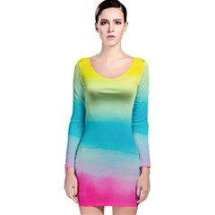 Watercolour Gradient Long Sleeve Velvet Bodycon Dress