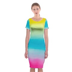 Watercolour Gradient Classic Short Sleeve Midi Dress