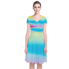 Watercolour Gradient Short Sleeve Front Wrap Dress
