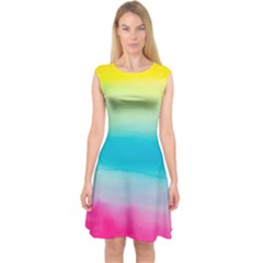 Watercolour Gradient Capsleeve Midi Dress