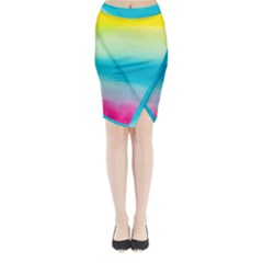 Watercolour Gradient Midi Wrap Pencil Skirt
