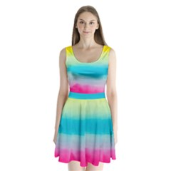 Watercolour Gradient Split Back Mini Dress