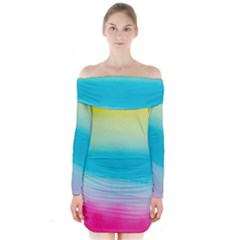 Watercolour Gradient Long Sleeve Off Shoulder Dress