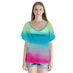 Watercolour Gradient Flutter Sleeve Top