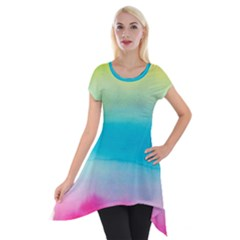 Watercolour Gradient Short Sleeve Side Drop Tunic