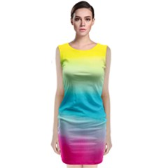 Watercolour Gradient Sleeveless Velvet Midi Dress