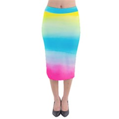 Watercolour Gradient Velvet Midi Pencil Skirt