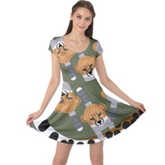 Chetah Animals Cap Sleeve Dresses