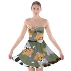 Chetah Animals Strapless Bra Top Dress