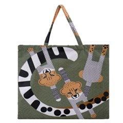 Chetah Animals Zipper Large Tote Bag