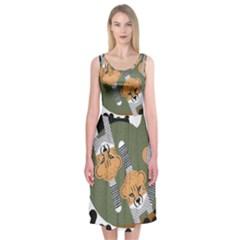 Chetah Animals Midi Sleeveless Dress