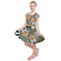 Chetah Animals Kids  Short Sleeve Dress