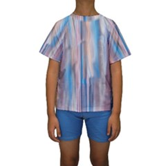 Vertical Abstract Contemporary Kids  Short Sleeve Swimwear