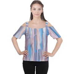 Vertical Abstract Contemporary Women s Cutout Shoulder Tee