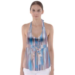Vertical Abstract Contemporary Babydoll Tankini Top
