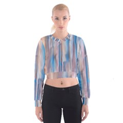 Vertical Abstract Contemporary Women s Cropped Sweatshirt