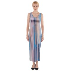 Vertical Abstract Contemporary Fitted Maxi Dress