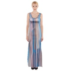Vertical Abstract Contemporary Maxi Thigh Split Dress