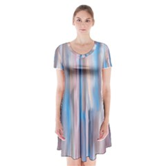 Vertical Abstract Contemporary Short Sleeve V-neck Flare Dress