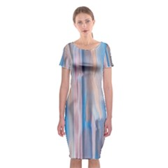Vertical Abstract Contemporary Classic Short Sleeve Midi Dress