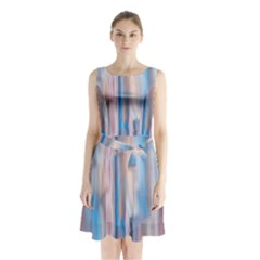 Vertical Abstract Contemporary Sleeveless Chiffon Waist Tie Dress
