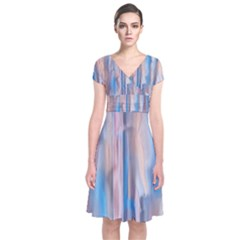Vertical Abstract Contemporary Short Sleeve Front Wrap Dress