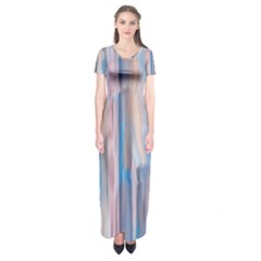 Vertical Abstract Contemporary Short Sleeve Maxi Dress