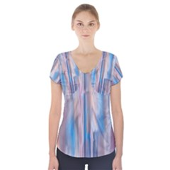 Vertical Abstract Contemporary Short Sleeve Front Detail Top