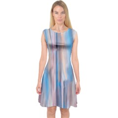 Vertical Abstract Contemporary Capsleeve Midi Dress