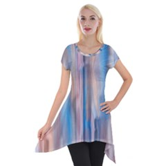 Vertical Abstract Contemporary Short Sleeve Side Drop Tunic