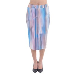 Vertical Abstract Contemporary Velvet Midi Pencil Skirt