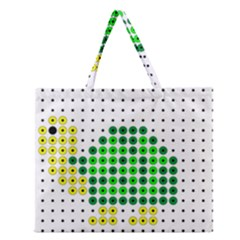 Colored Turtle Zipper Large Tote Bag