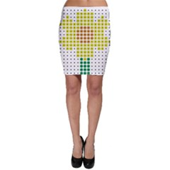 Colored Flowers Bodycon Skirt