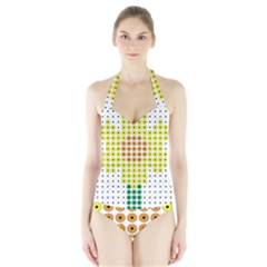 Colored Flowers Halter Swimsuit