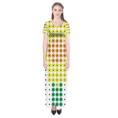 Colored Flowers Short Sleeve Maxi Dress