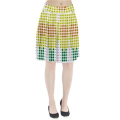 Colored Flowers Pleated Skirt