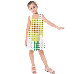 Colored Flowers Kids  Sleeveless Dress