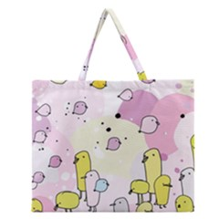 Cut Bird Zipper Large Tote Bag