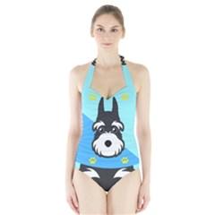 Face Dog Halter Swimsuit