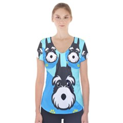 Face Dog Short Sleeve Front Detail Top