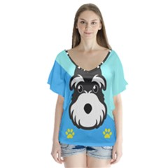 Face Dog Flutter Sleeve Top
