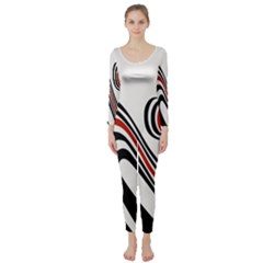 Curving, White Background Long Sleeve Catsuit