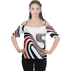 Curving, White Background Women s Cutout Shoulder Tee