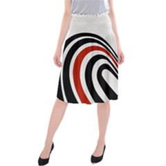 Curving, White Background Midi Beach Skirt