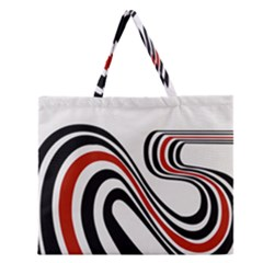 Curving, White Background Zipper Large Tote Bag