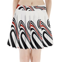 Curving, White Background Pleated Mini Skirt